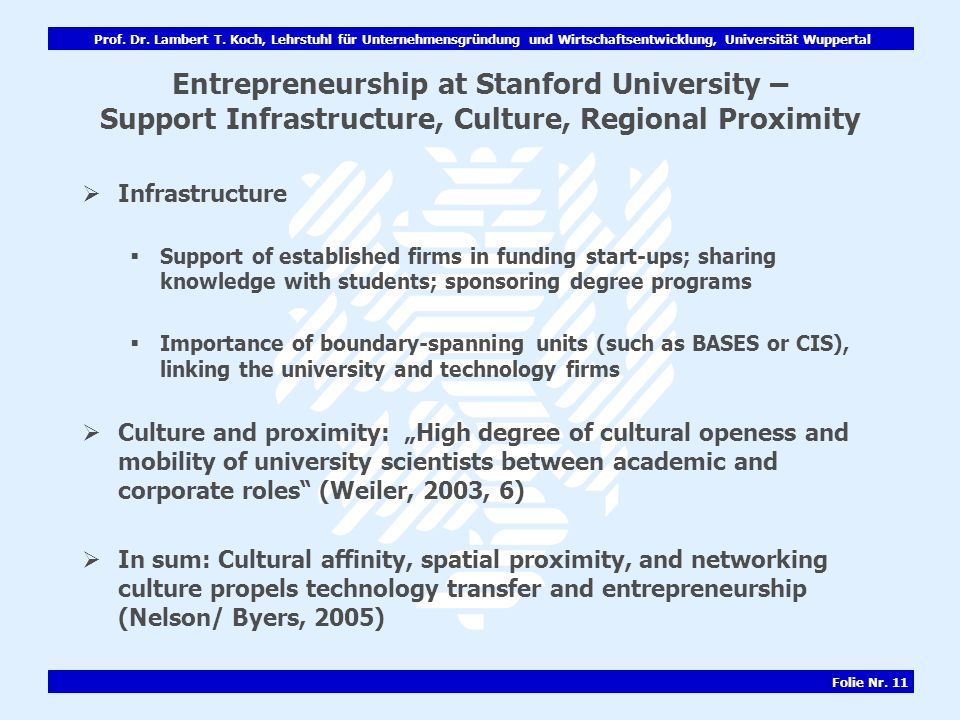Entrepreneurship at Stanford University – Support Infrastructure, Culture, Regional Proximity