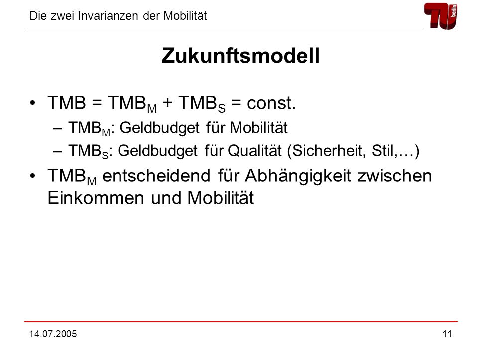 Zukunftsmodell TMB = TMBM + TMBS = const.