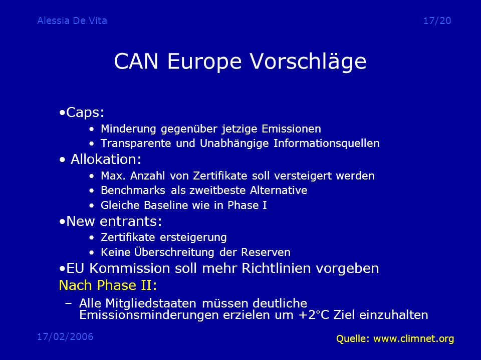 CAN Europe Vorschläge Caps: Allokation: New entrants: