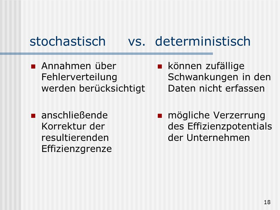 stochastisch vs. deterministisch