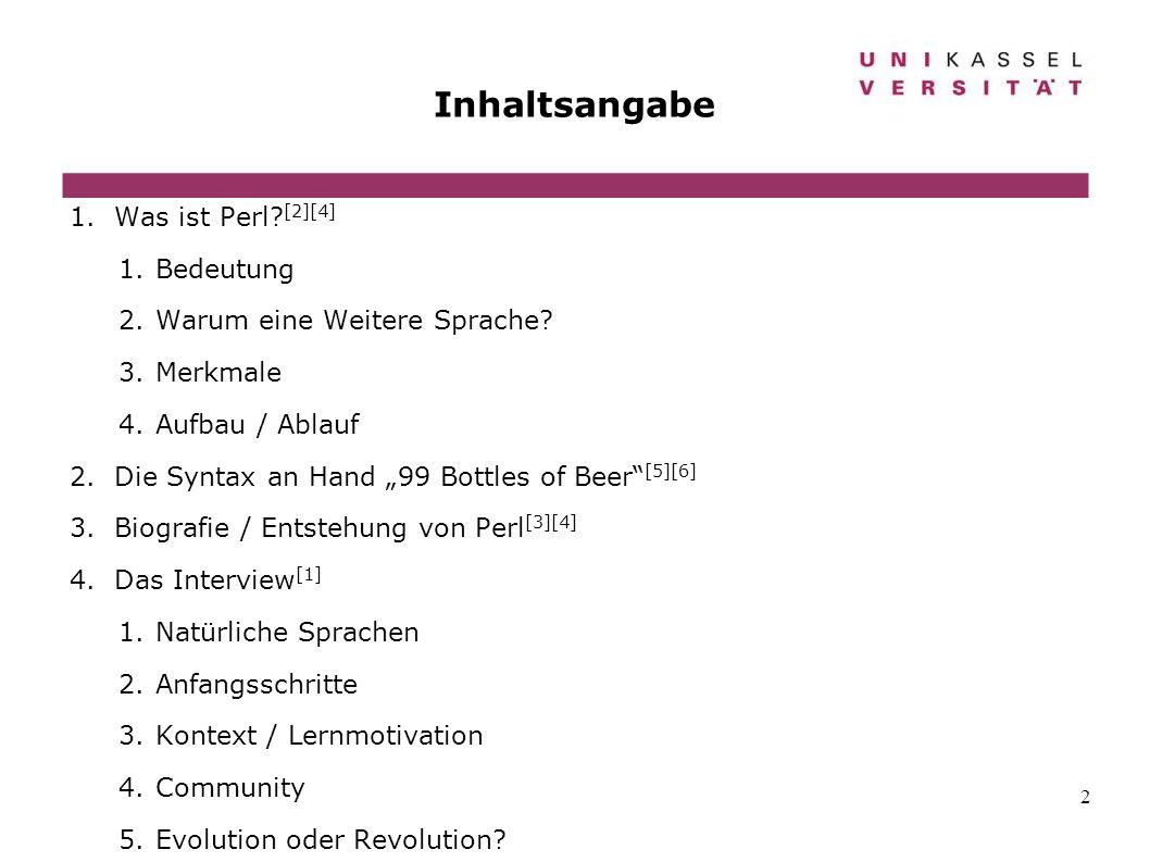 Perl Seminararbeit Universität Kassel Fakultät Informatik Ppt