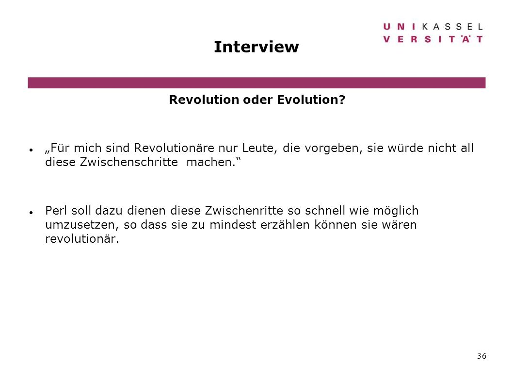 Revolution oder Evolution