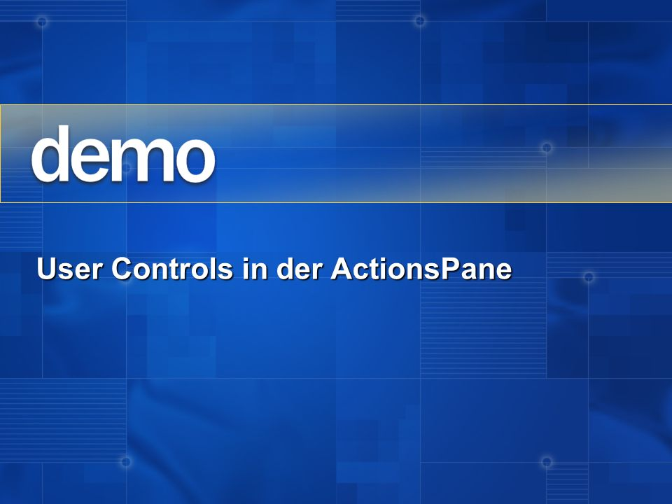 User Controls in der ActionsPane