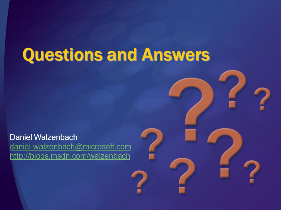 Questions and Answers Daniel Walzenbach