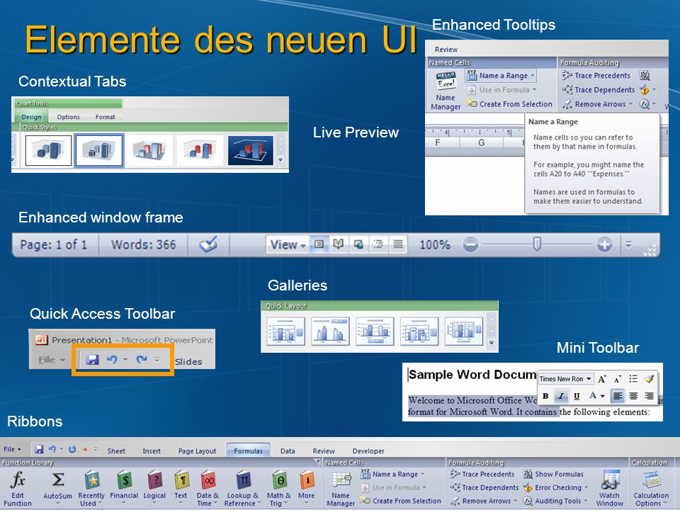 Elemente des neuen UI Enhanced Tooltips Contextual Tabs Live Preview