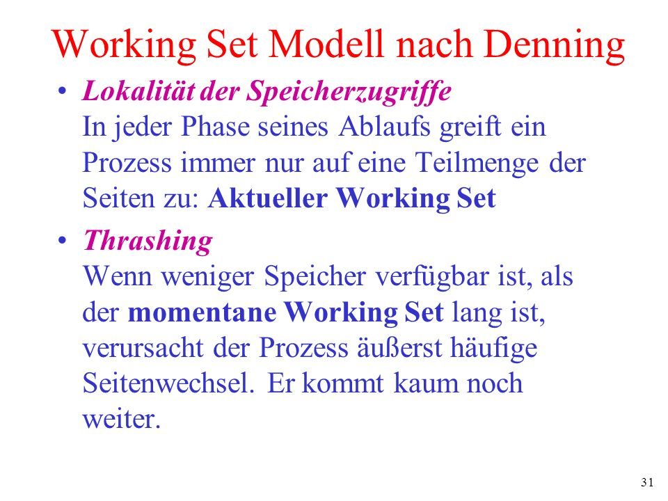 Working Set Modell nach Denning