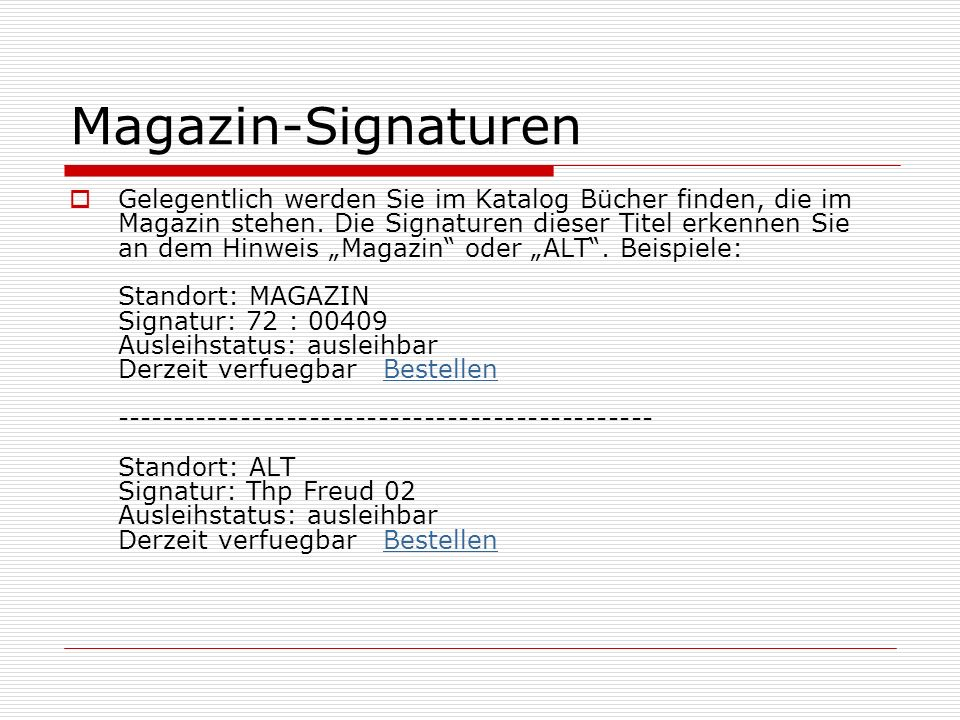 Magazin-Signaturen