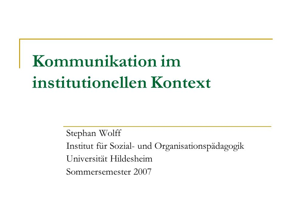 Kommunikation im institutionellen Kontext