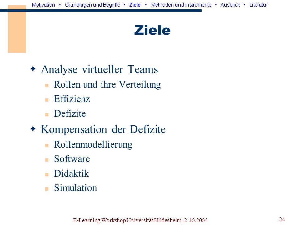 Ziele Analyse virtueller Teams Kompensation der Defizite