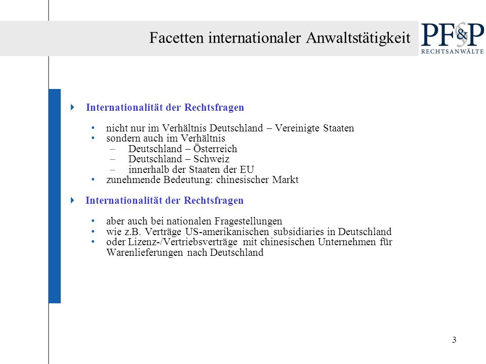 Facetten internationaler Anwaltstätigkeit