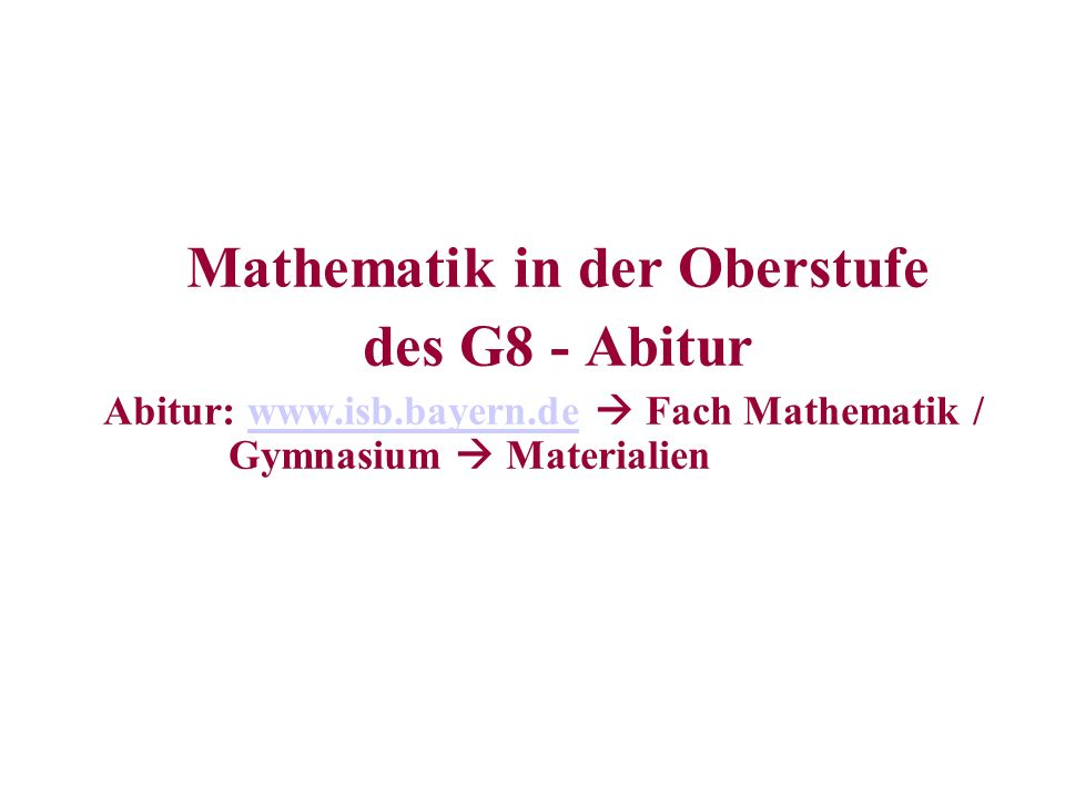 Mathematik in der Oberstufe