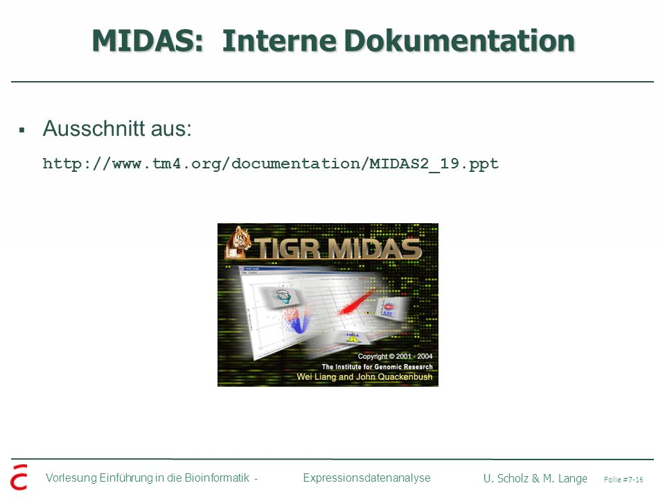 MIDAS: Interne Dokumentation