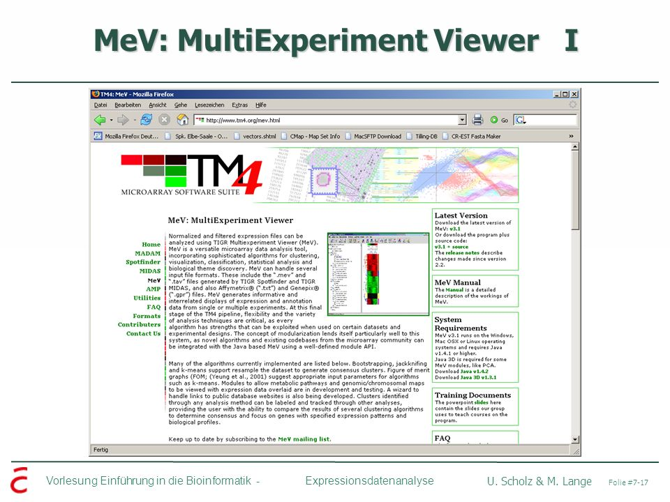 MeV: MultiExperiment Viewer I
