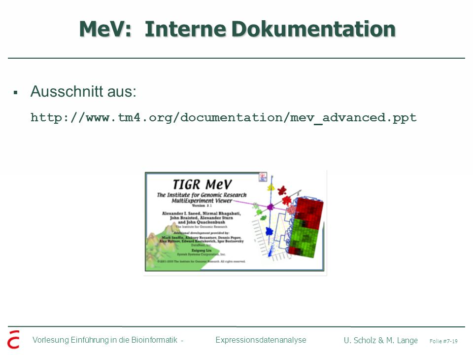 MeV: Interne Dokumentation