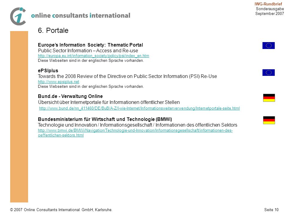 6. Portale Europe's Information Society: Thematic Portal
