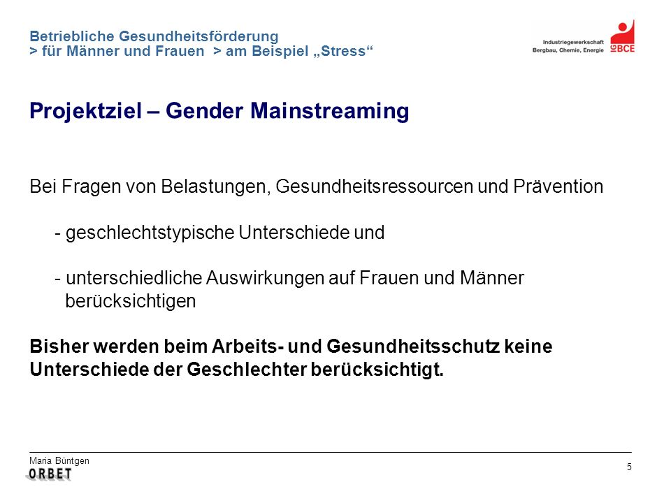 Projektziel – Gender Mainstreaming