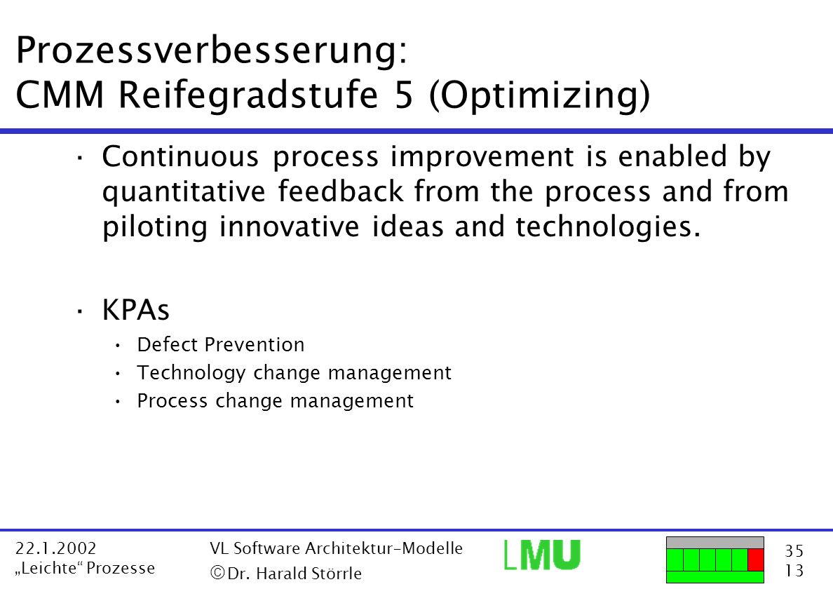 Prozessverbesserung: CMM Reifegradstufe 5 (Optimizing)