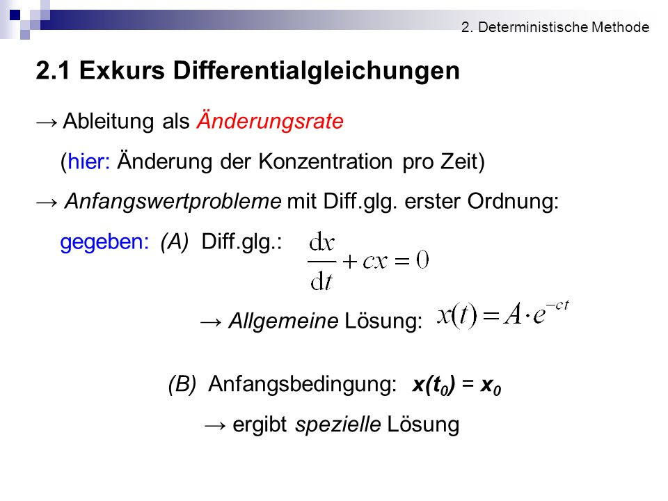 2.1 Exkurs Differentialgleichungen