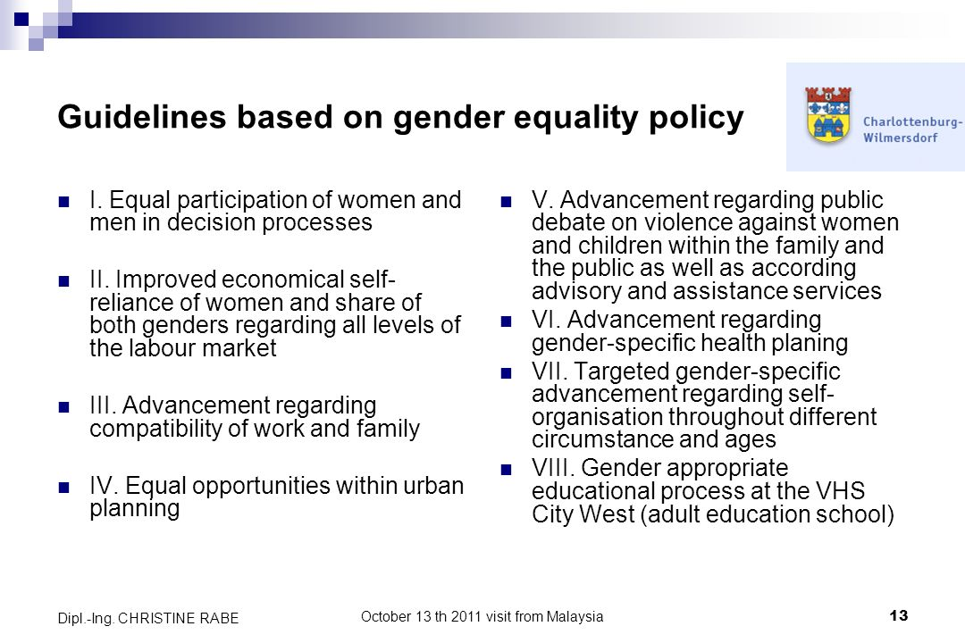 Guidelines based on gender equality policy