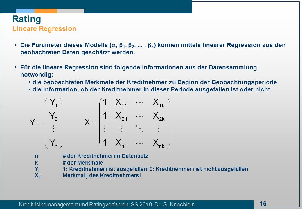 Rating Lineare Regression