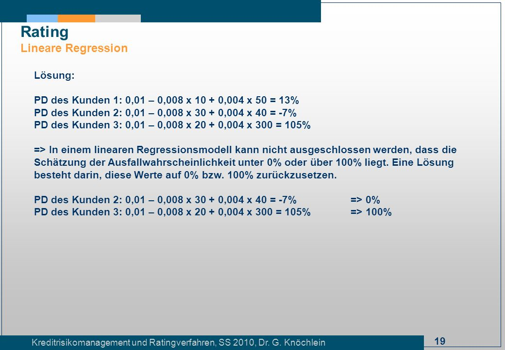 Rating Lineare Regression Lösung: