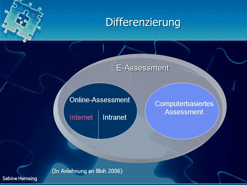 Differenzierung E-Assessment Online-Assessment Internet Intranet