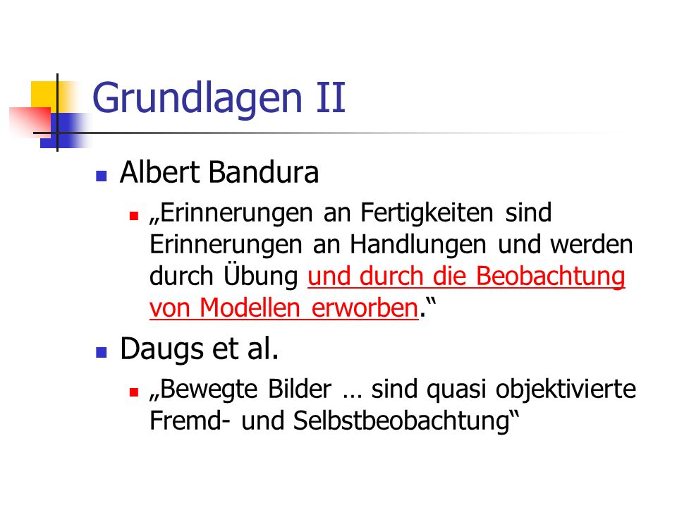 Grundlagen II Albert Bandura Daugs et al.