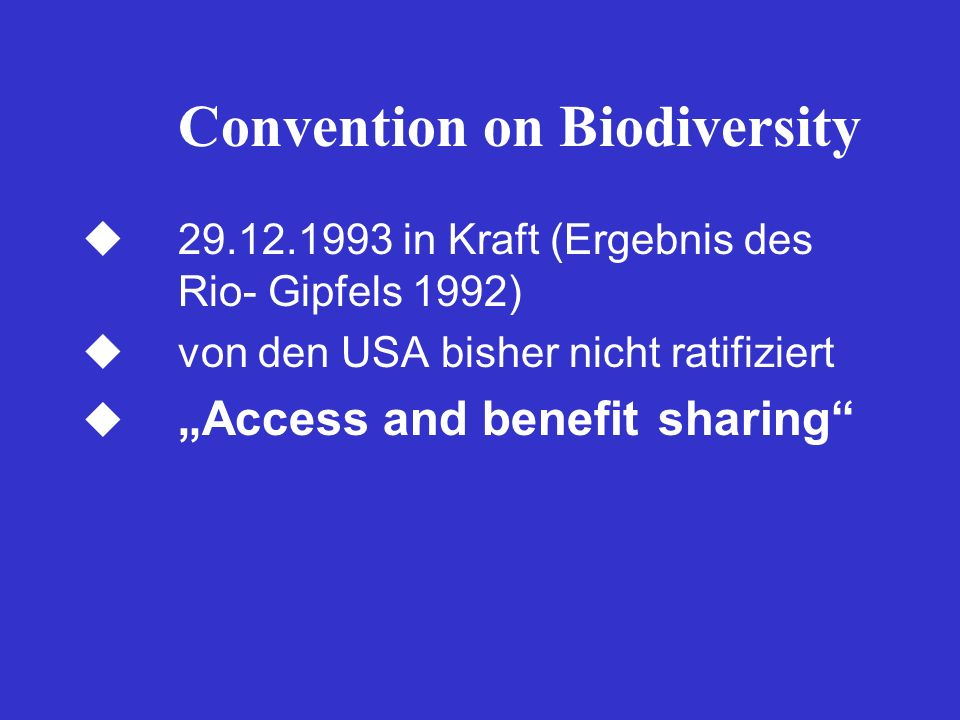 Convention on Biodiversity