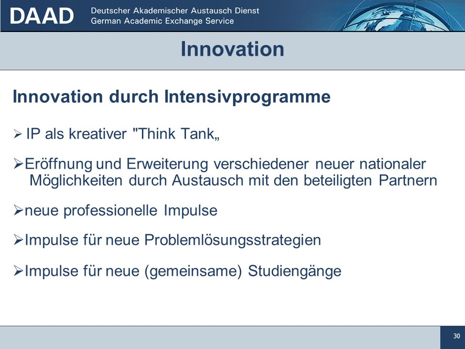 Innovation Innovation durch Intensivprogramme