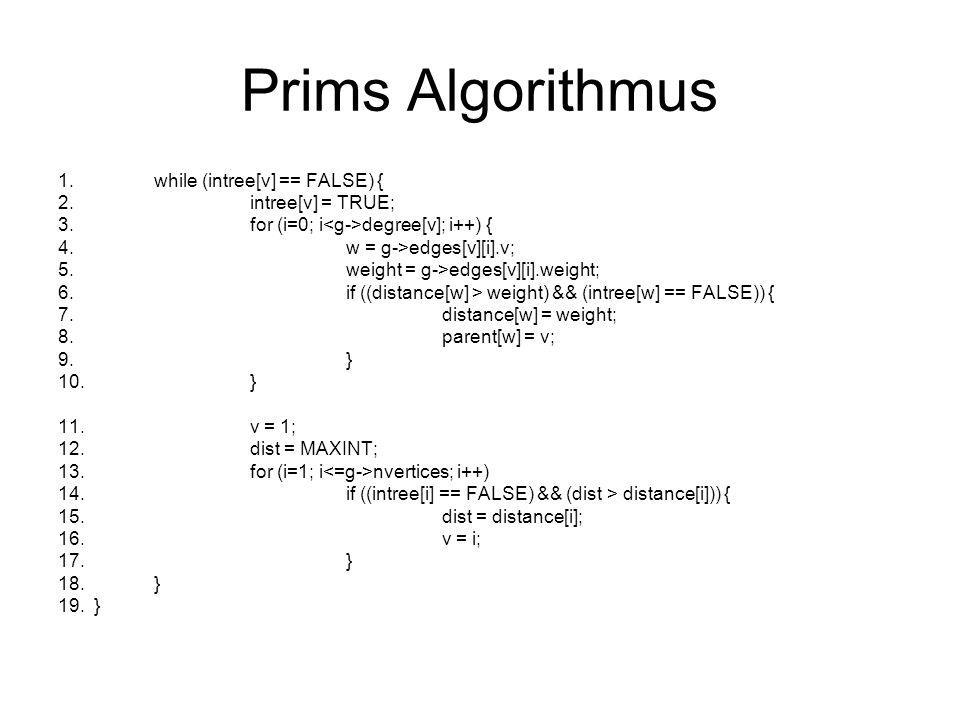 Prims Algorithmus while (intree[v] == FALSE) { intree[v] = TRUE;
