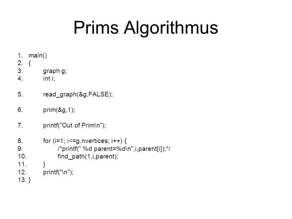 Prims Algorithmus main() { graph g; int i; read_graph(&g,FALSE);