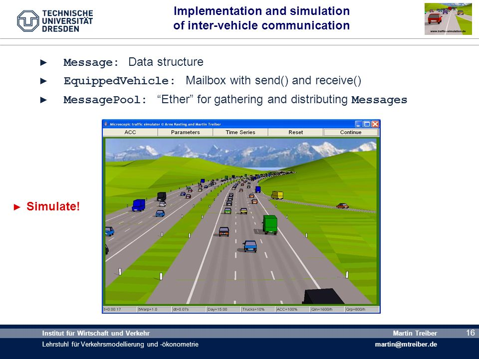 Implementation and simulation of inter-vehicle communication