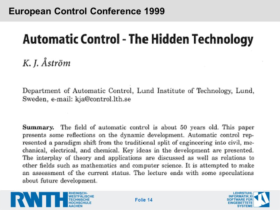 European Control Conference 1999