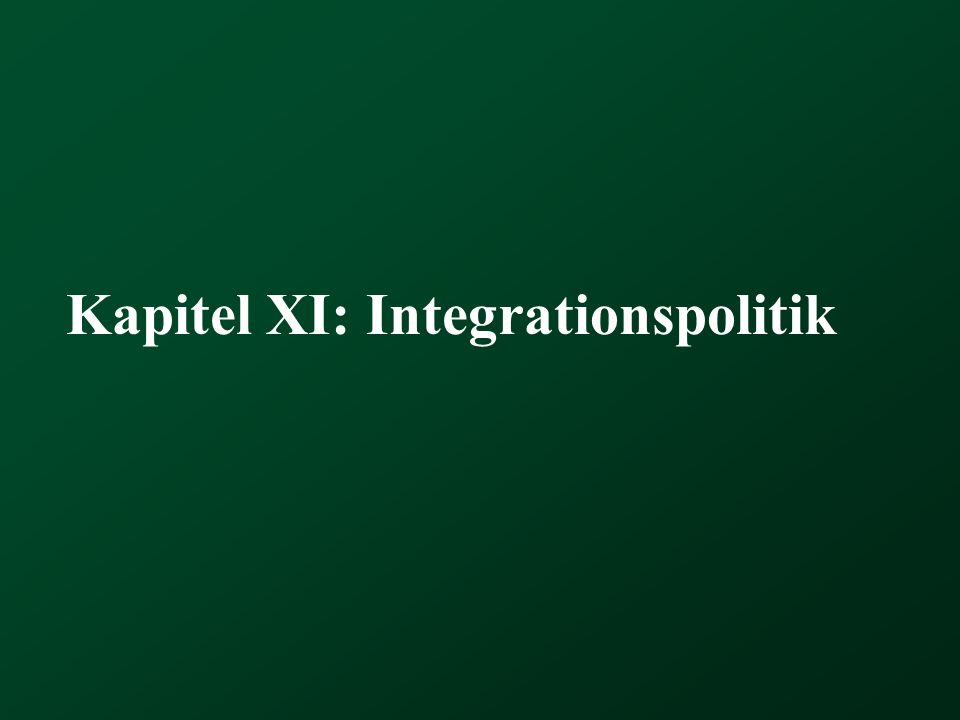 Kapitel XI: Integrationspolitik