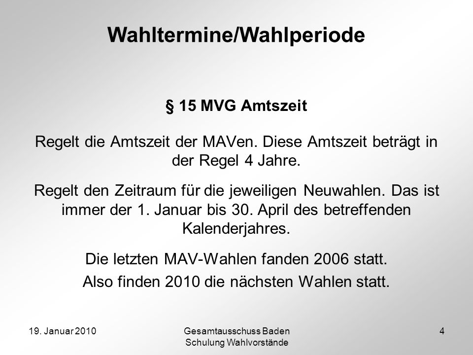 Wahltermine/Wahlperiode