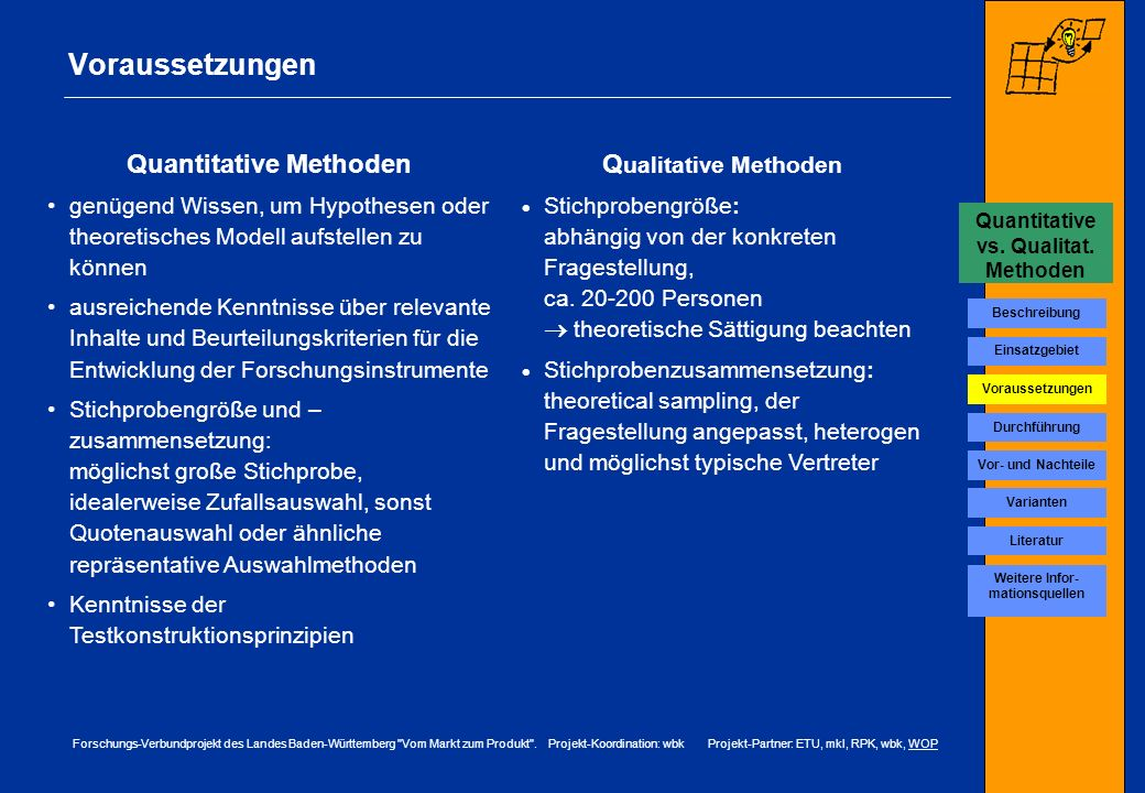 Voraussetzungen Quantitative Methoden Qualitative Methoden