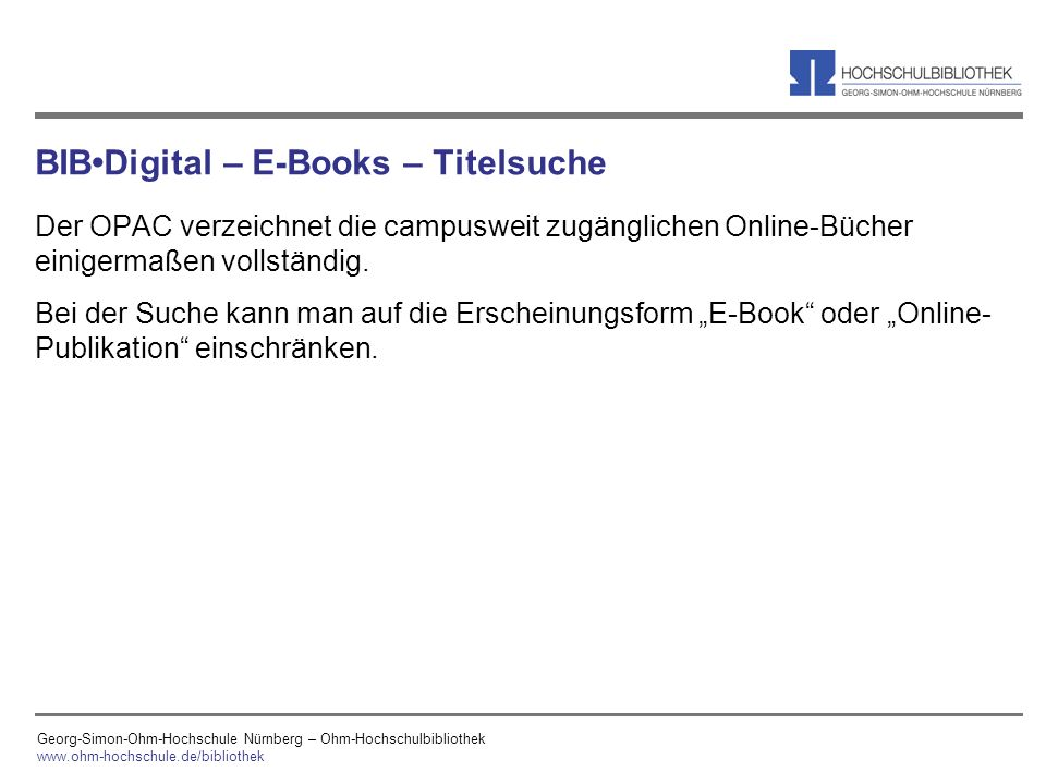 BIB•Digital – E-Books – Titelsuche