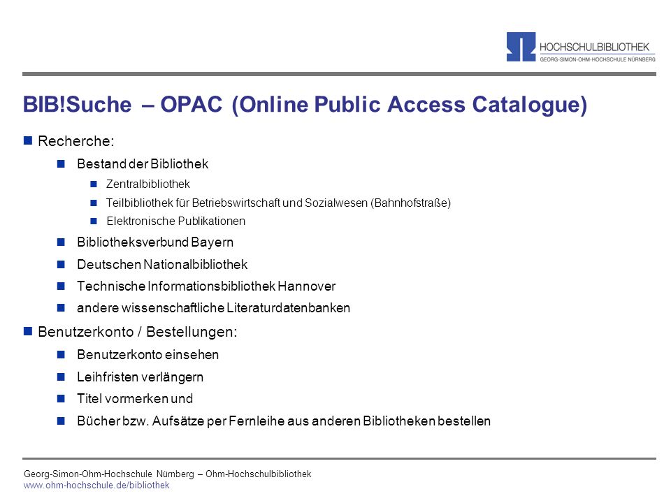 BIB!Suche – OPAC (Online Public Access Catalogue)