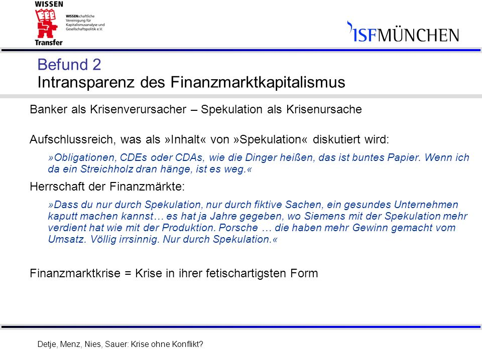 Befund 2 Intransparenz des Finanzmarktkapitalismus