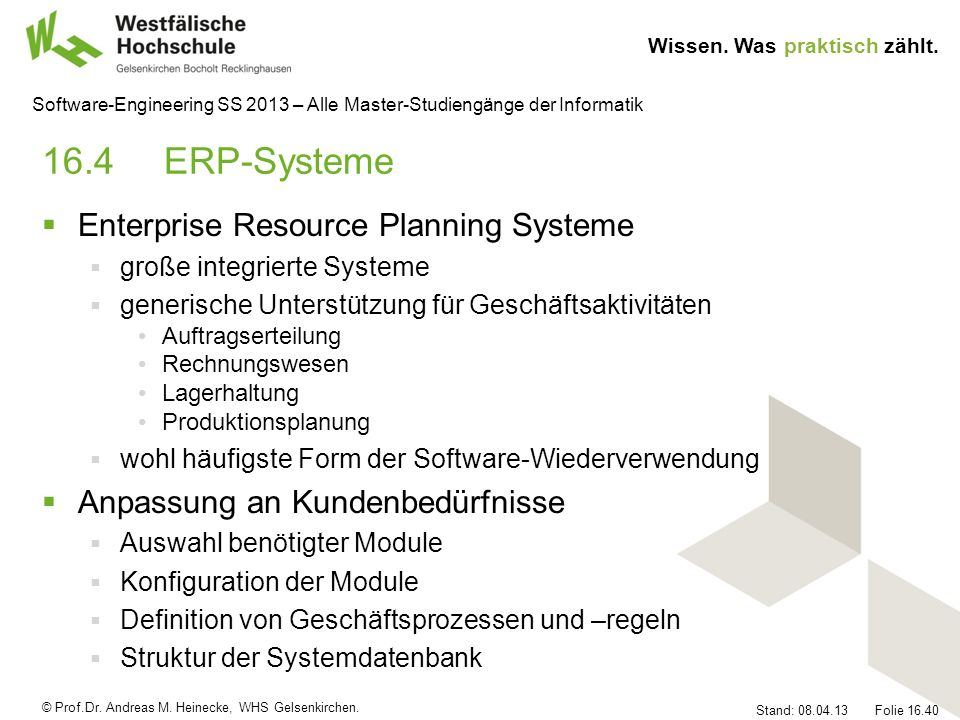 16.4 ERP-Systeme Enterprise Resource Planning Systeme