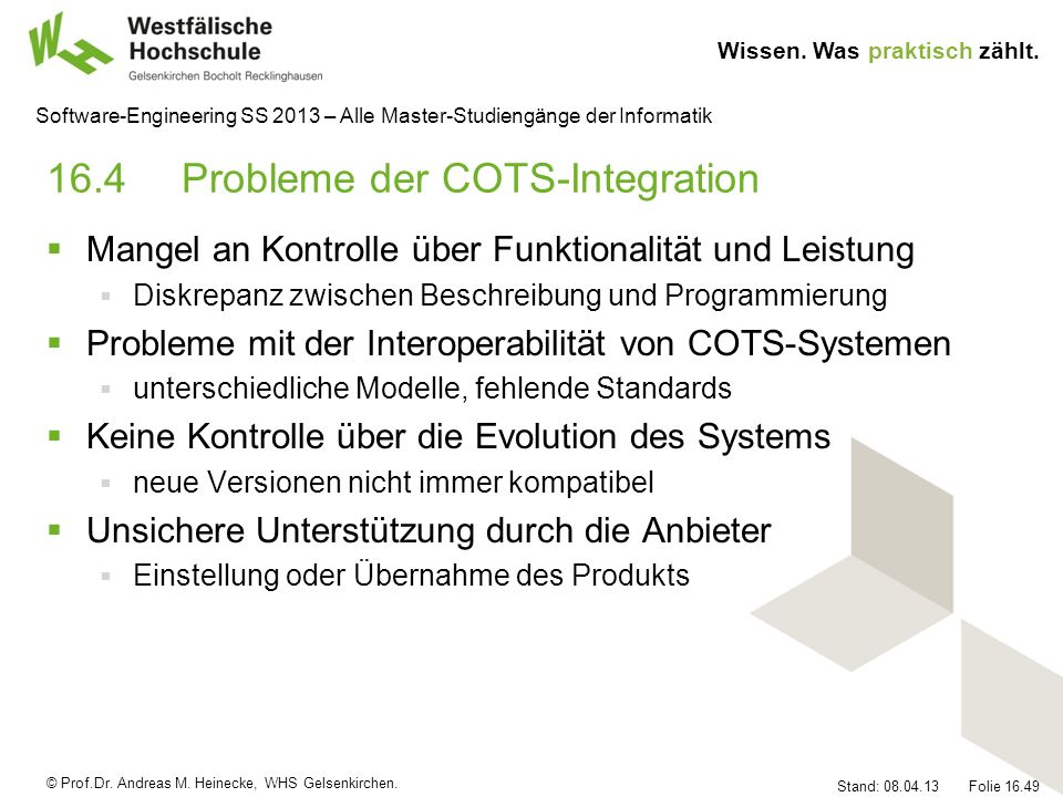 16.4 Probleme der COTS-Integration