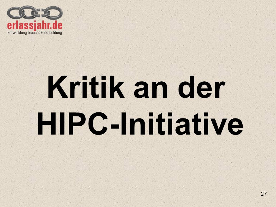 Kritik an der HIPC-Initiative