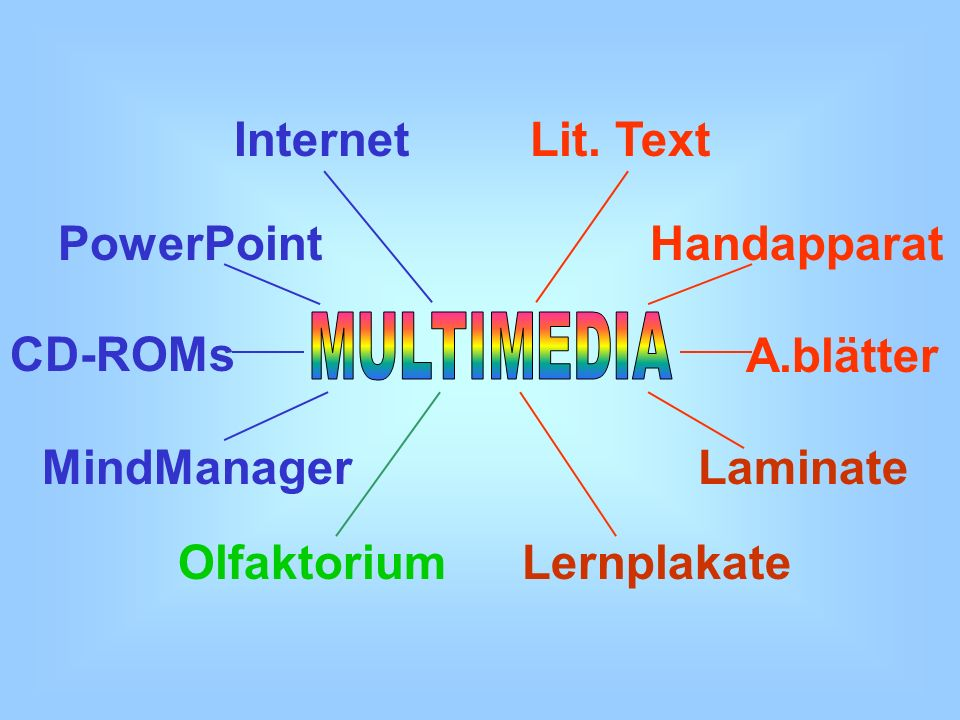 Internet Lit. Text. PowerPoint. Handapparat. MULTIMEDIA. CD-ROMs. A.blätter. MindManager. Laminate.
