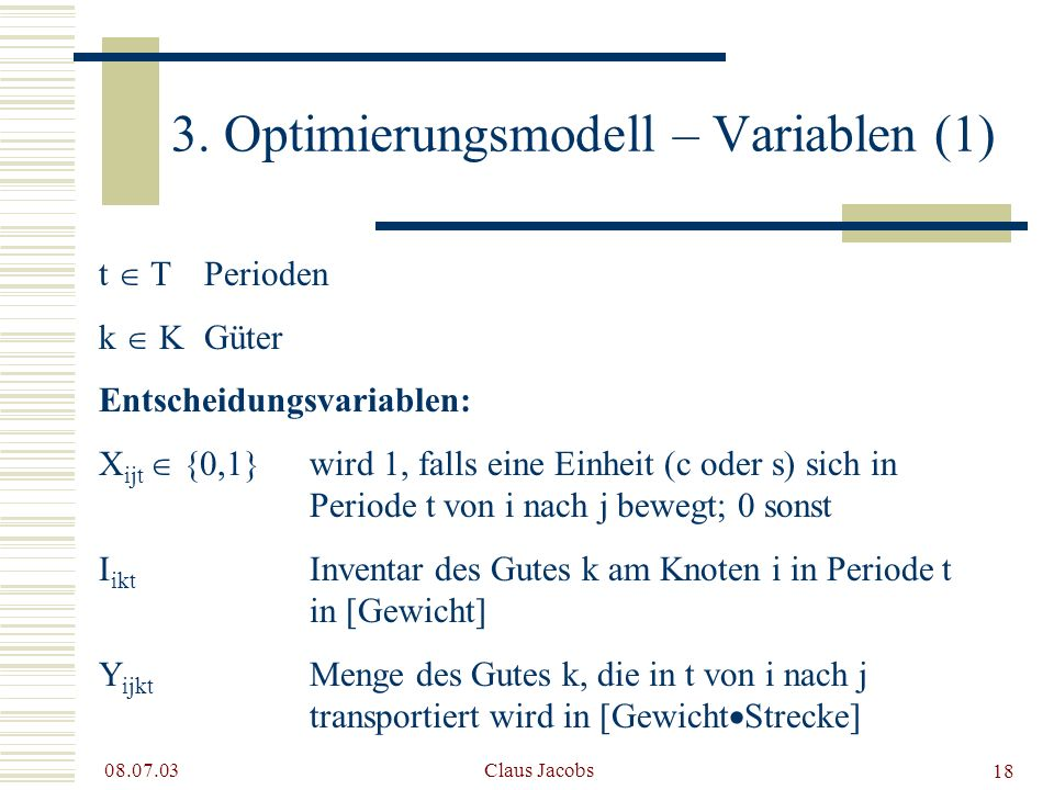 3. Optimierungsmodell – Variablen (1)