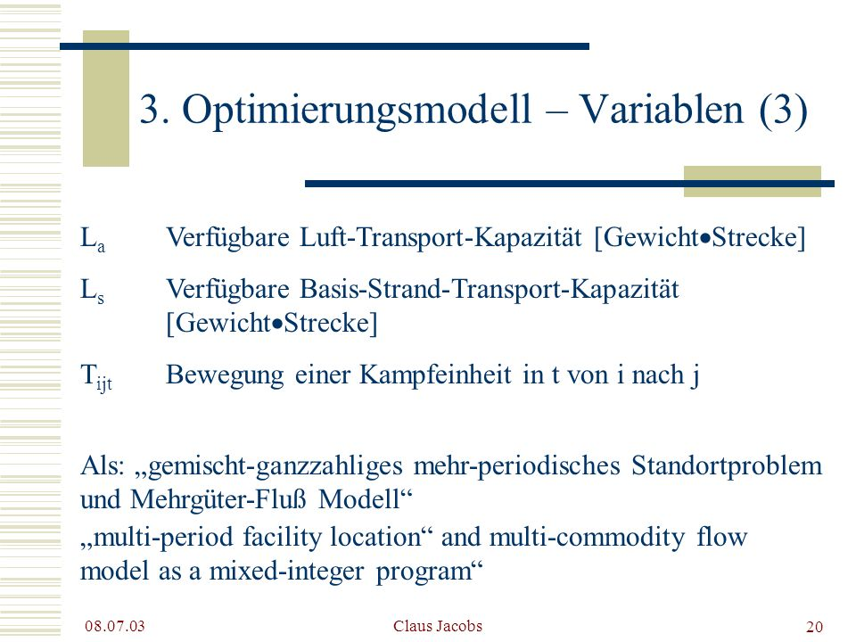 3. Optimierungsmodell – Variablen (3)