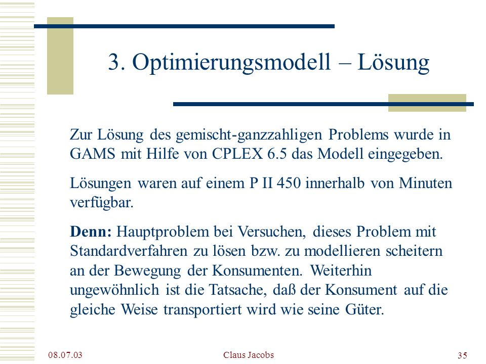 3. Optimierungsmodell – Lösung