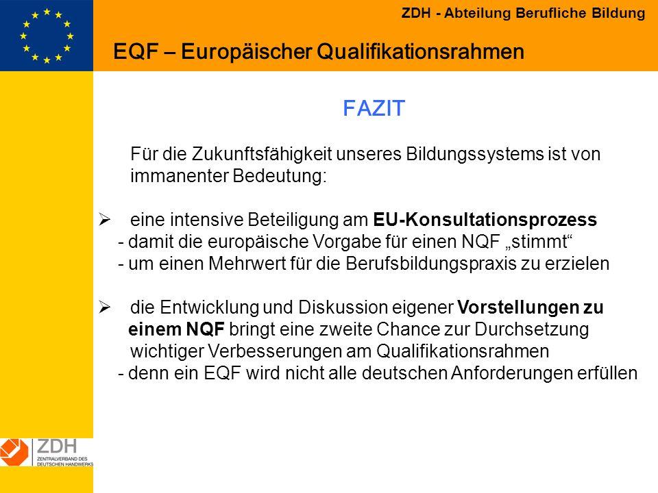 Vorstellungen der Wirtschaft zur Entwicklung eines europäischen und ...