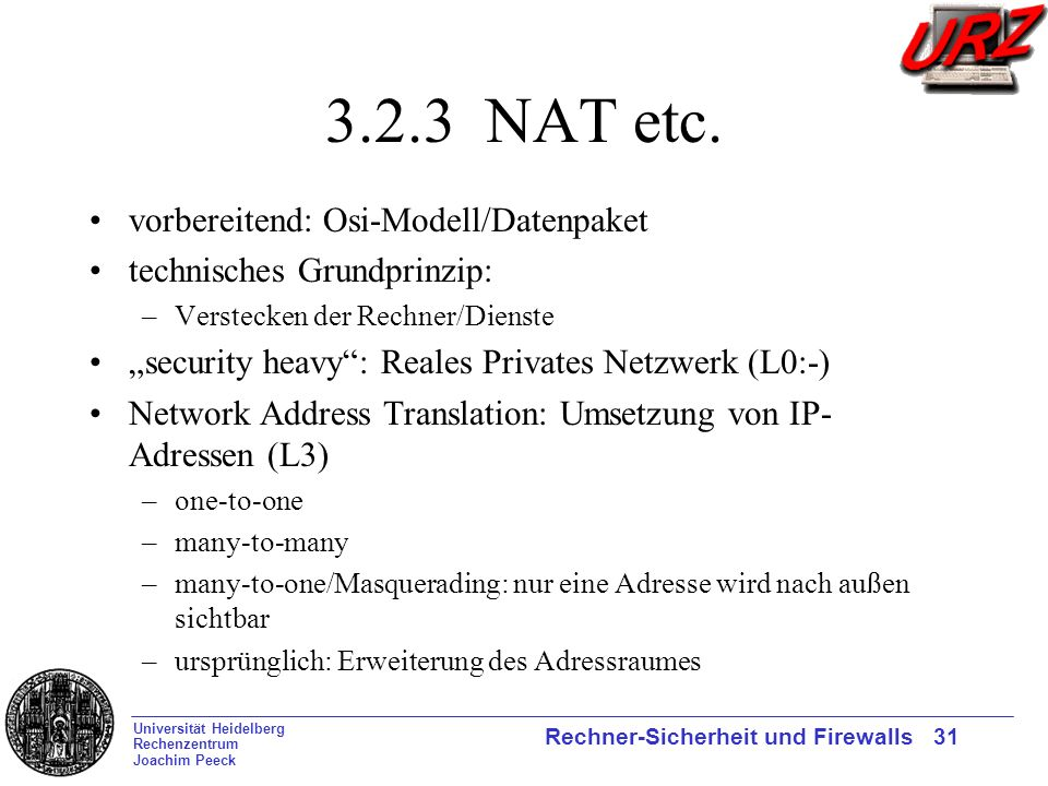 3.2.3 NAT etc. vorbereitend: Osi-Modell/Datenpaket