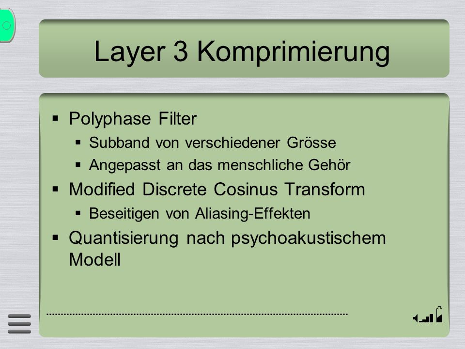 Layer 3 Komprimierung Polyphase Filter