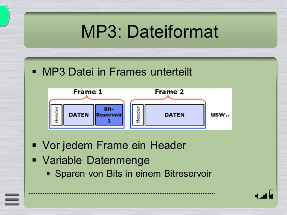 MP3: Dateiformat MP3 Datei in Frames unterteilt